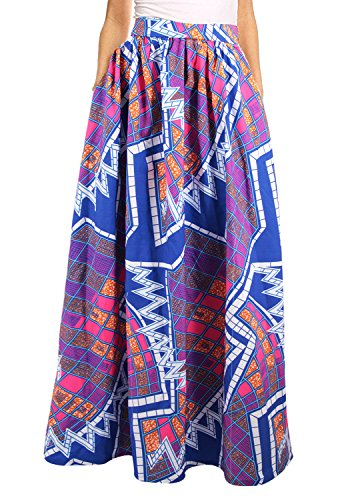 1058ae74210 Novias Boutique Women African Floral Print Pleated High Waist Maxi Skirt ...